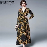 2019 spring summer High quality luxury runway print Maxi Dress V neck long sleeves women Dresses