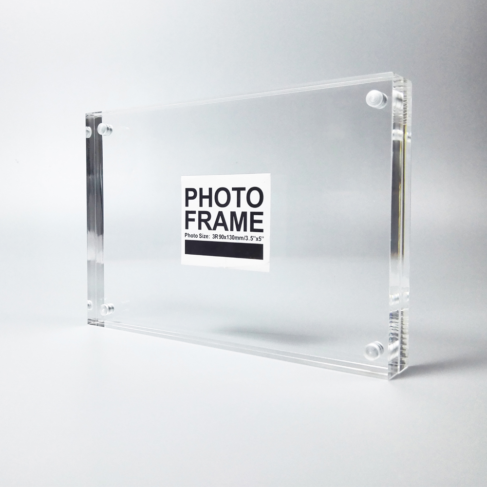 5f21754fc8f3 Free standing Double Sided Display Clear Acrylic Perspex Magnet Photo Block  Frames PF003-in Frame from Home   Garden on Aliexpress.com
