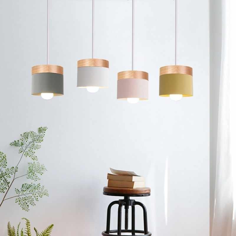 Moderno pingente de luz led luminária com madeira ferro sala jantar bar cafe restaurante nordic interior cilindro madeira pendurado lâmpada
