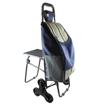 High Quality Carbon Steel Folding Shopping Cart with Seat Six Mute Wheel Climbing Luggage Cart Trolley Waterproof Oxford Bag