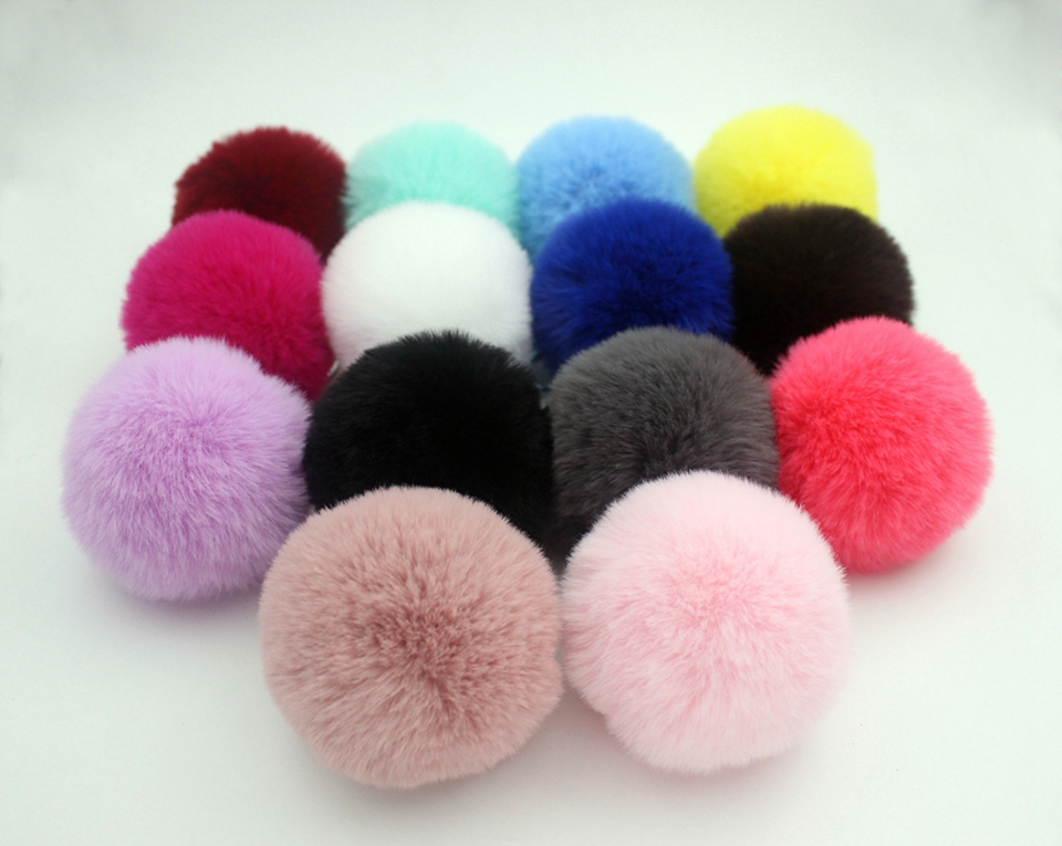HTB1iSgyn2uSBuNkHFqDq6xfhVXaf - 20 Colors Fluffy Fur Pom Pom Keychains Soft Faux Rex Rabbit Fur Ball Car Keyring Pompom Key Chains Women Bag Pendant Jewelry Diy
