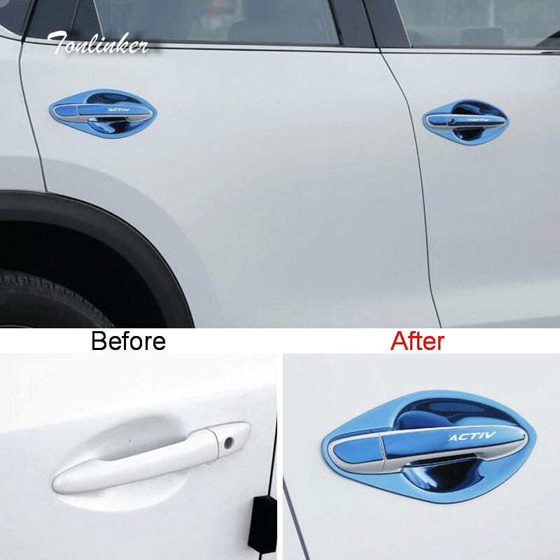 Tonlinker Cover Case Sticker for MAZDA CX5 2017-18 Car Styling 16 Pcs Stainless steel The Door handle decoration Cover stickers