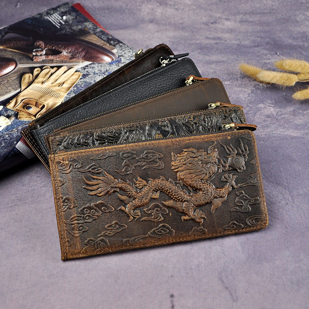 Hot Sale Cattle Male Crazy Horse Real leather Design Large Capacity Card Holder Wallet Purse Phone Pocket For Men N1057 crazy horse leather billfolds wallet card holder leather card case for men 8056r 1