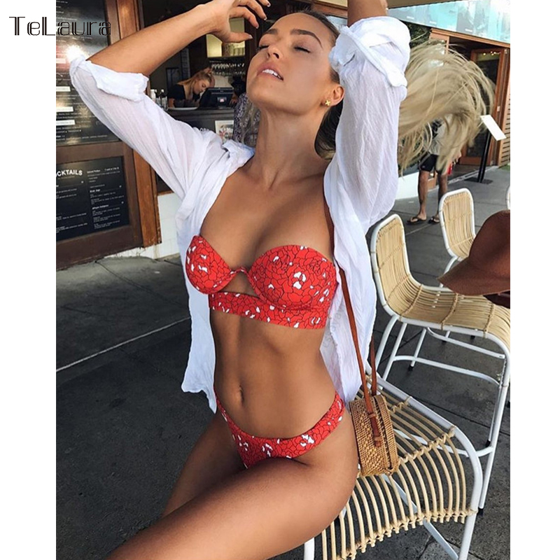 TeLaura 2018 Sexy Bikini Swimwear Women Swimsuit Push Up Bandage Bikini Set Hollow Out Beachwear Biquini Bathing Suit Female sexy women v neck halter one piece swimsuit crochet knitted hollow out swimwear biquini female bandage bathing suit beachwear