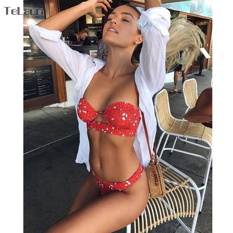 TeLaura 2018 Sexy Bikini Swimwear Women Swimsuit Push Up Bandage Bikini Set Hollow Out Beachwear Biquini Bathing Suit Female