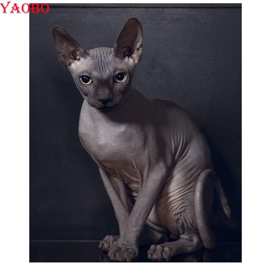 DIY 3D Diamond Embroidery Sphynx Cats Diamond Mosaic Sets Diamond Painting Animal Pictures Of  Rhinestones Home Decoration