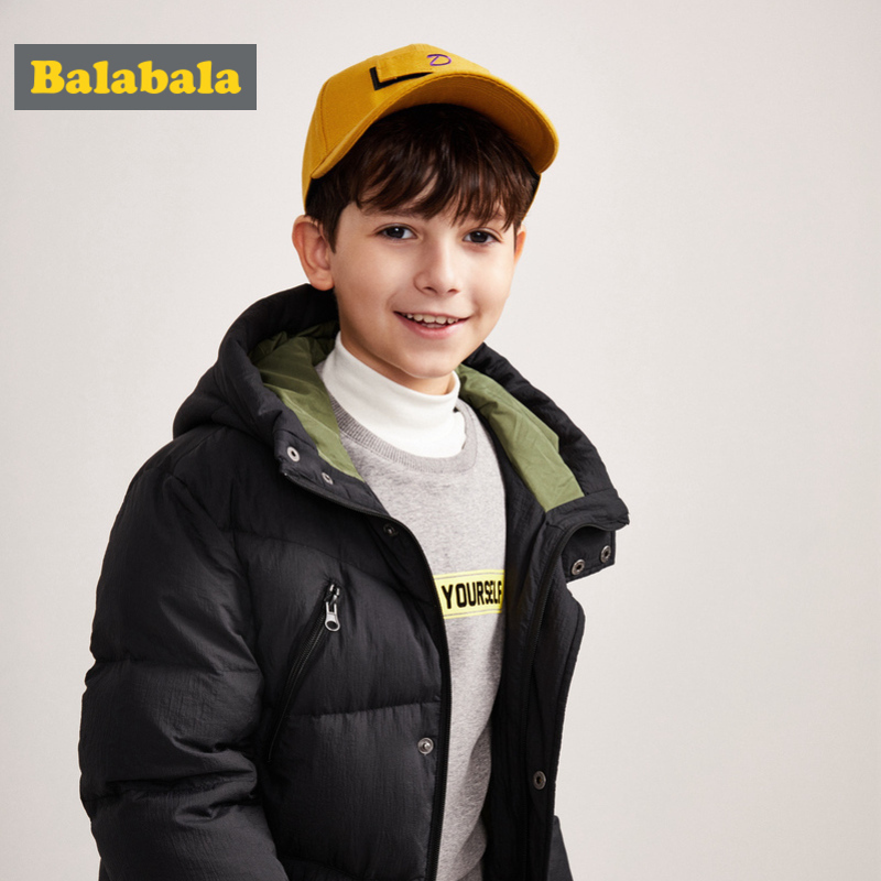 Balabala Boys Girls Long Hooded Down Jacket Snap and Zip Closure Teenager Hooded Puffer Jacket with Pocket Silky Polyester LinedBalabala Boys Girls Long Hooded Down Jacket Snap and Zip Closure Teenager Hooded Puffer Jacket with Pocket Silky Polyester Lined