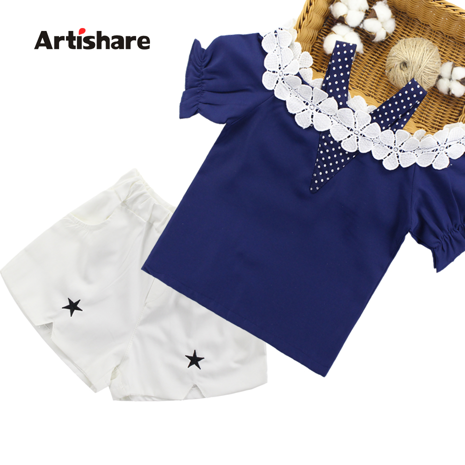 Artishare Summer time Garments For Women Lace Shirt + Shorts 2Pcs Women Units Clothes Teenage Youngsters Clothes 6 8 10 12 14 Yr