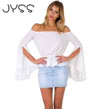 JYSS New Arrival Sexy stretchy Chiffon Blouse short Ruffle backless Summer Shirts flare open sleeve Boat Neck Loose Blouse 80810