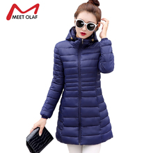 2017 Ultra Light Women Winter Coats Long Hooded Cotton Padded Parkas Female Slime Warm Solid Jacket abrigos mujer invierno Y1282