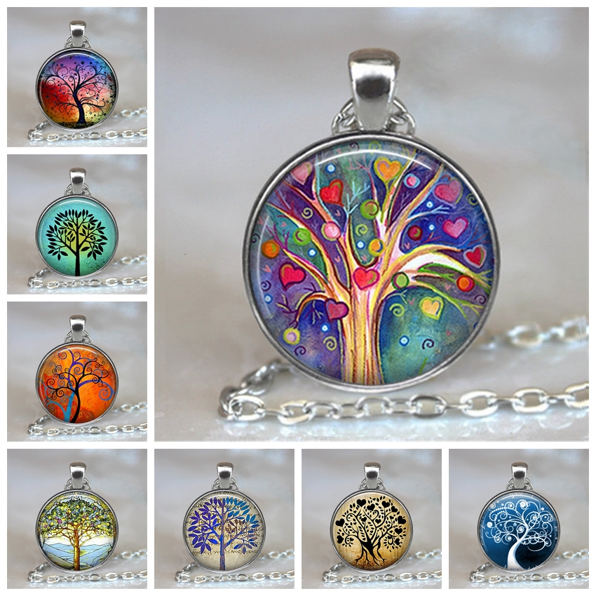 Choker Necklace Pendant Jewelry Silver Chain Glass Cabochon-Statement Life-Tree Vintage