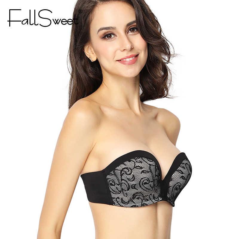 b7755f7d7 ... FallSweet Strapless Lace Bra for Women Anti-slip Push Up Bralette A B C  Cup Demi Hand ...