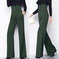 Весна осень мода женщин полосатый широкую ногу с завышенной талией брюки, 3XL падение тонкий женский элегантный широкий тонкие брюки для женщины