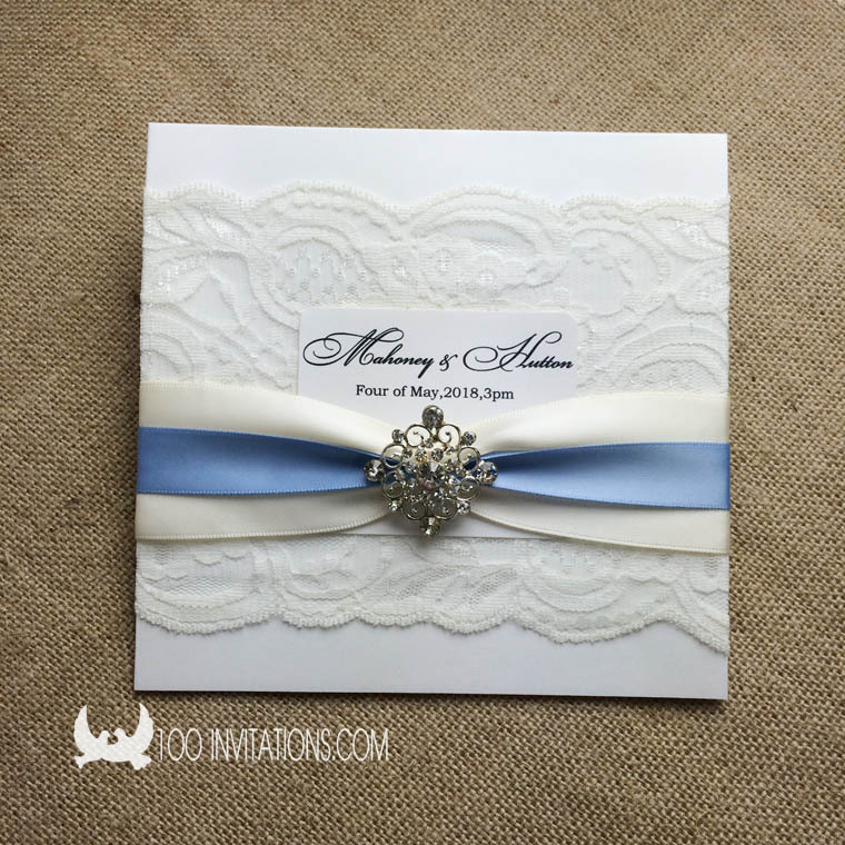 Elegant lace wedding invitations square pocket fold for Wedding invitation folded envelopes
