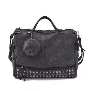Винтажные женские сумки из нубука, большие женские сумки с заклепками, сумка на плечо для мотоцикла, сумка-мессенджер с верхней ручкой