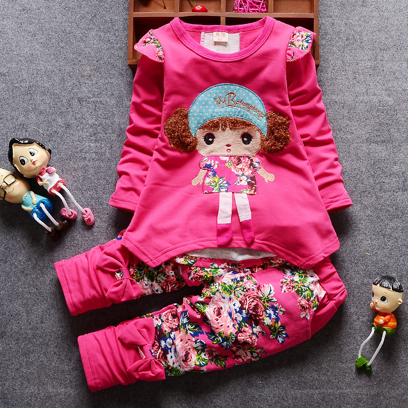 2018 New Spring Autumn Kids Sets Cartoon Girl Full Sleeve T-shirt Pants 2 Pcs/Sets Pure Cotton Suits Children Clothes Tracksuit 2017 new spring women maternity t shirt