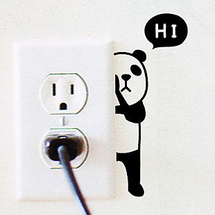 Children Bed Room Cartoon Panda Switch Sticker Antifouling Waterproof Wall Sticker Free Shipping
