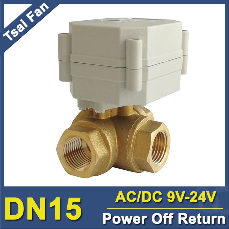 TF15-BH3-C AC/DC9V-24V Brass 1/2'' (DN15) Horizontal 3 Way T/L Type Power Off Return Actuated Ball Valve With Indicator держатель dicom ditech bh3
