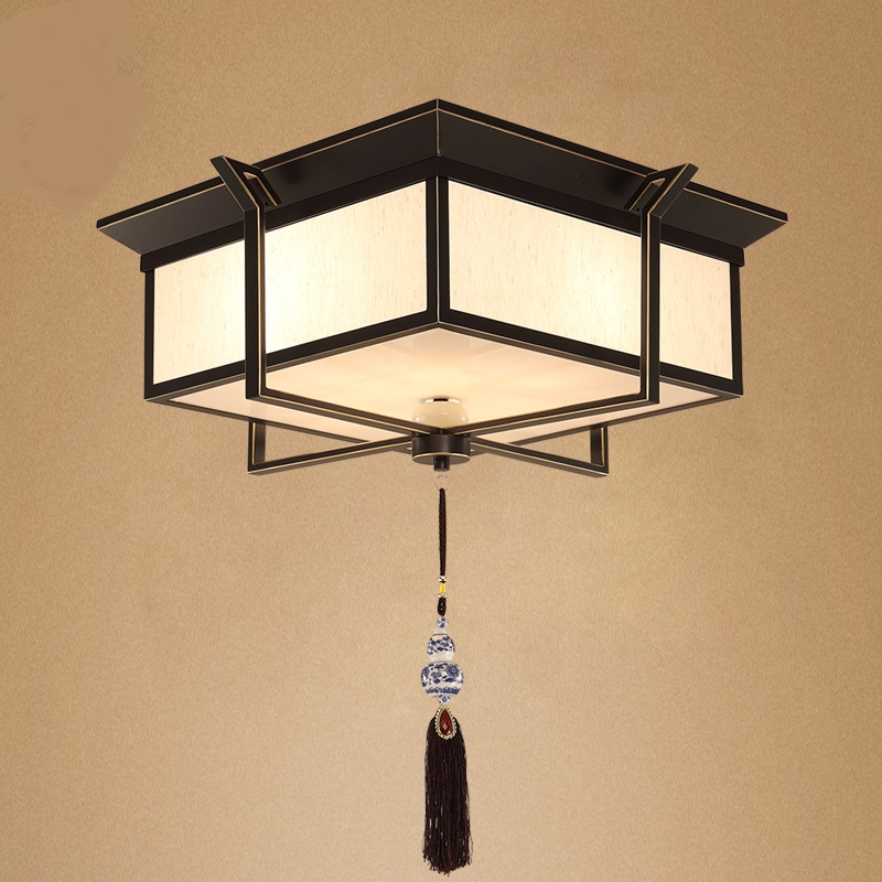 Square Iron Art Retro Living Room Ceiling Lamp Bedroom Study Antique Lighting Lights LO71411