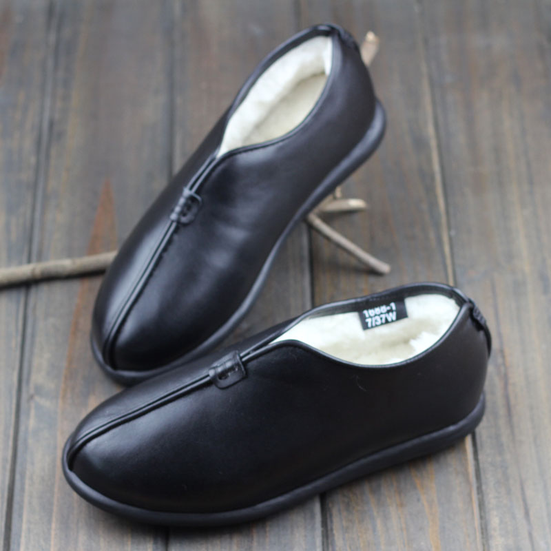 Careaymade Winter handmade head layer leather shoes sheepskin wool one warm non slip flat with leather