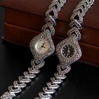 S925 silver fashion lady bracelet watches built in quartz movement