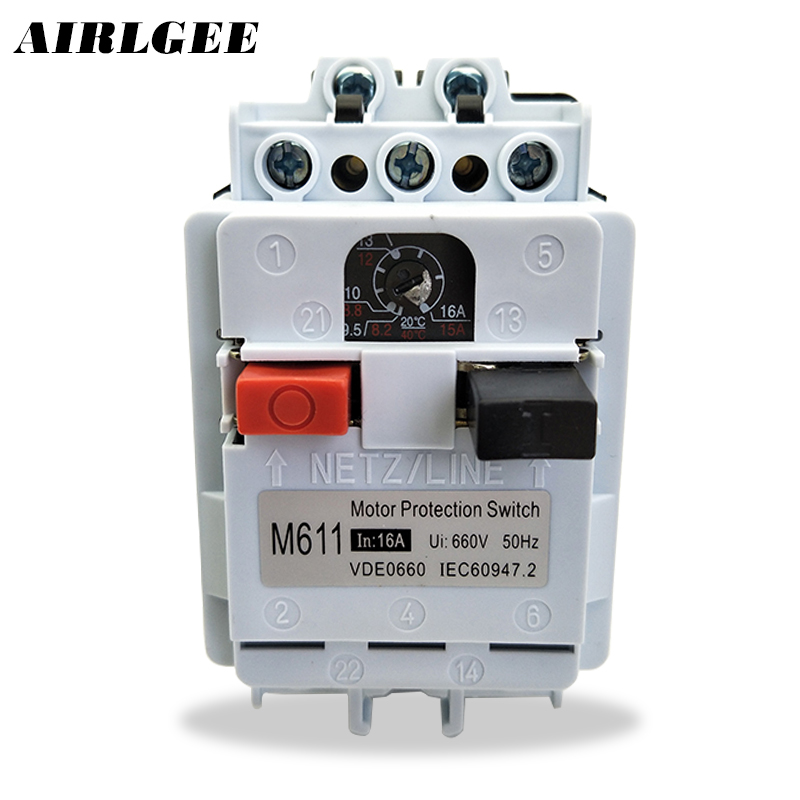 DZ162-16 M611 AC 660V 9.5A-16A Adjustable 3 Pole DIN Rail Motor Protection Switch Circuit Breaker 3 5cm din rail mounted dz47 100h d100 ac 400v 4 pole circuit breaker