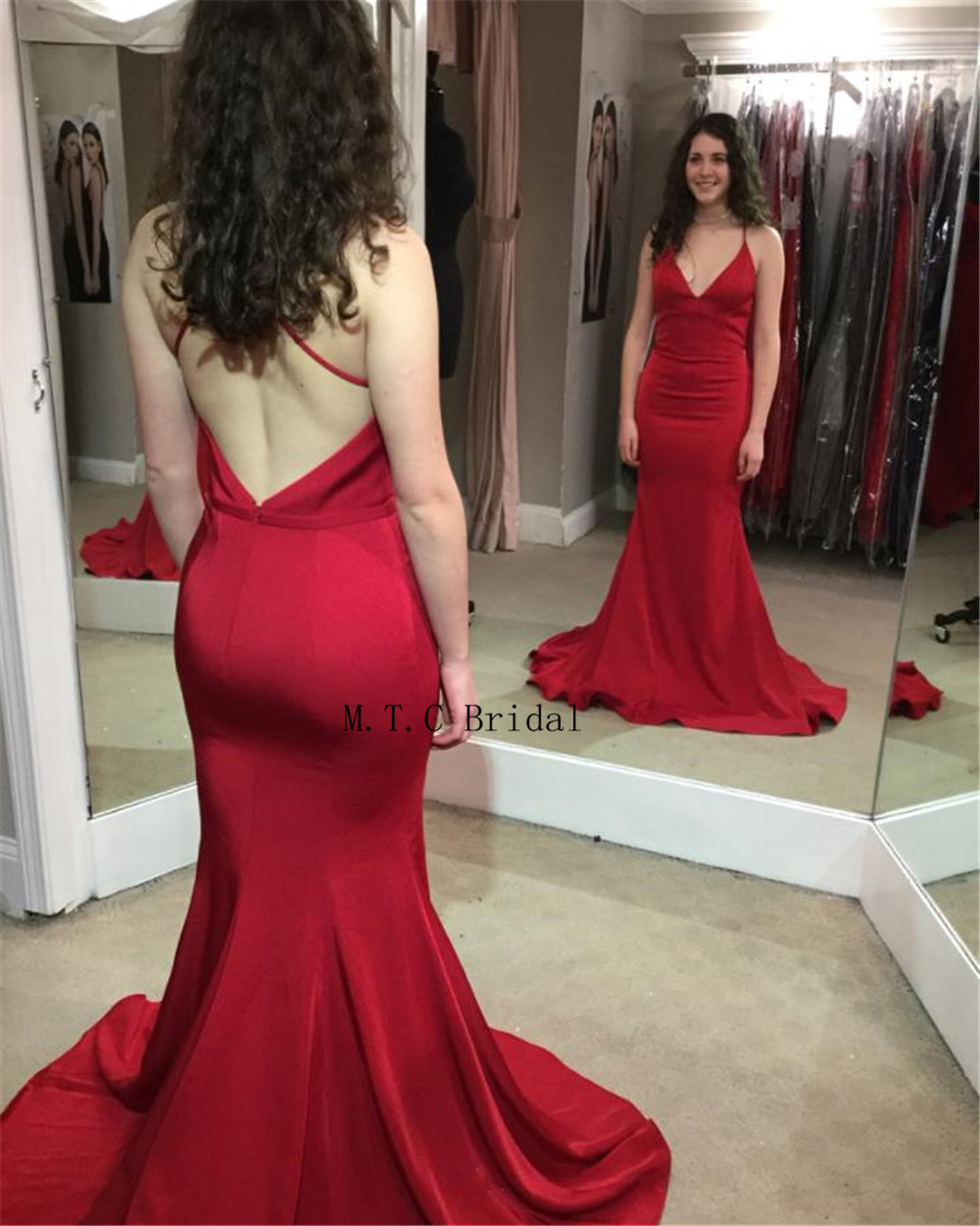 Sexy Red Mermaid Backless Evening Dress Spaghetti Strap Sweetheart Floor Length Long Prom Gown 2019 Cheap Women Party Dresses