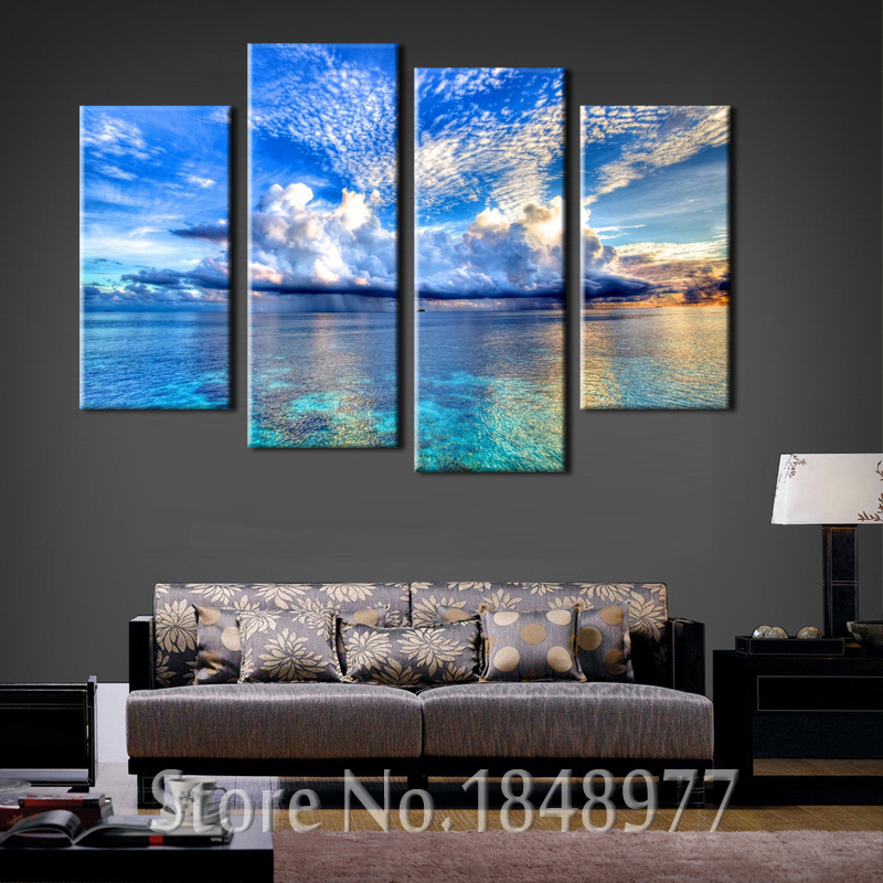 4 piece beautiful cloud ocean seascape wall painting print - Wall decor painting ideas ...