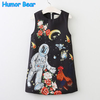 Humor Bear Children clothing Girls Dress 2017 New summer Princess Dress Baby Kids Dress Sleeveless Embroidery Design Dress