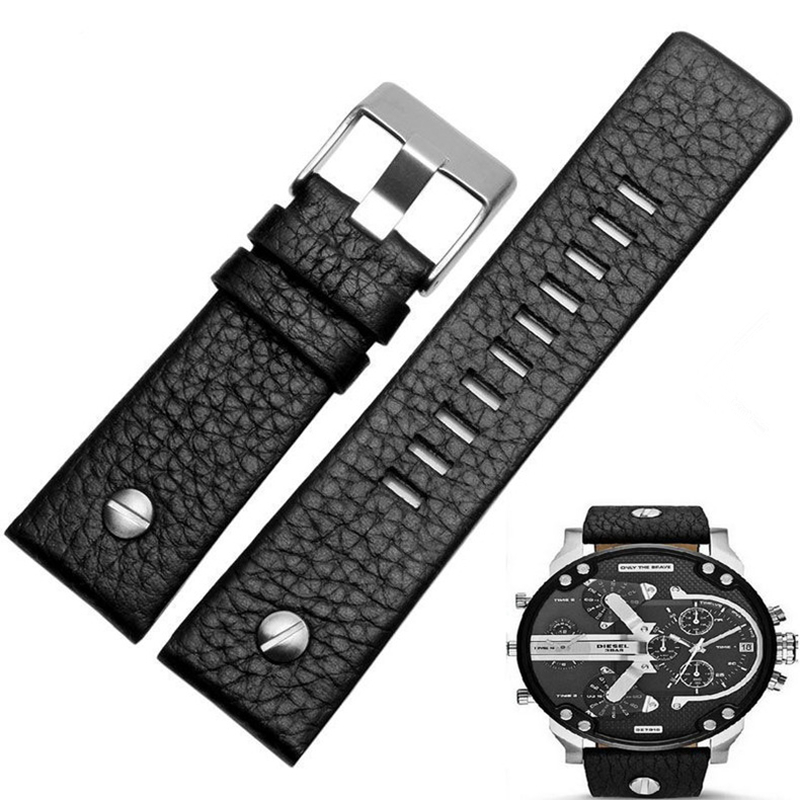 Image 3 - MERJUST 22mm 24mm 26mm 28mm 30mm Black Brown White Leather Strap For Diesel DZ DZ7257 DZ4318 watchband Wristband With rivet-in Watchbands from Watches
