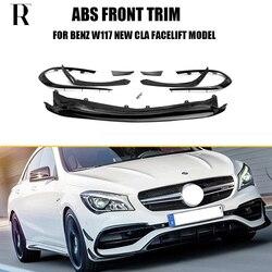 ABS czarny dokładka przedniego zderzaka z bocznymi rozdzielaczami Canards fartuch dla Benz W117 Cla200 CLA260 CLA45 AMG Facelift 2016-2019