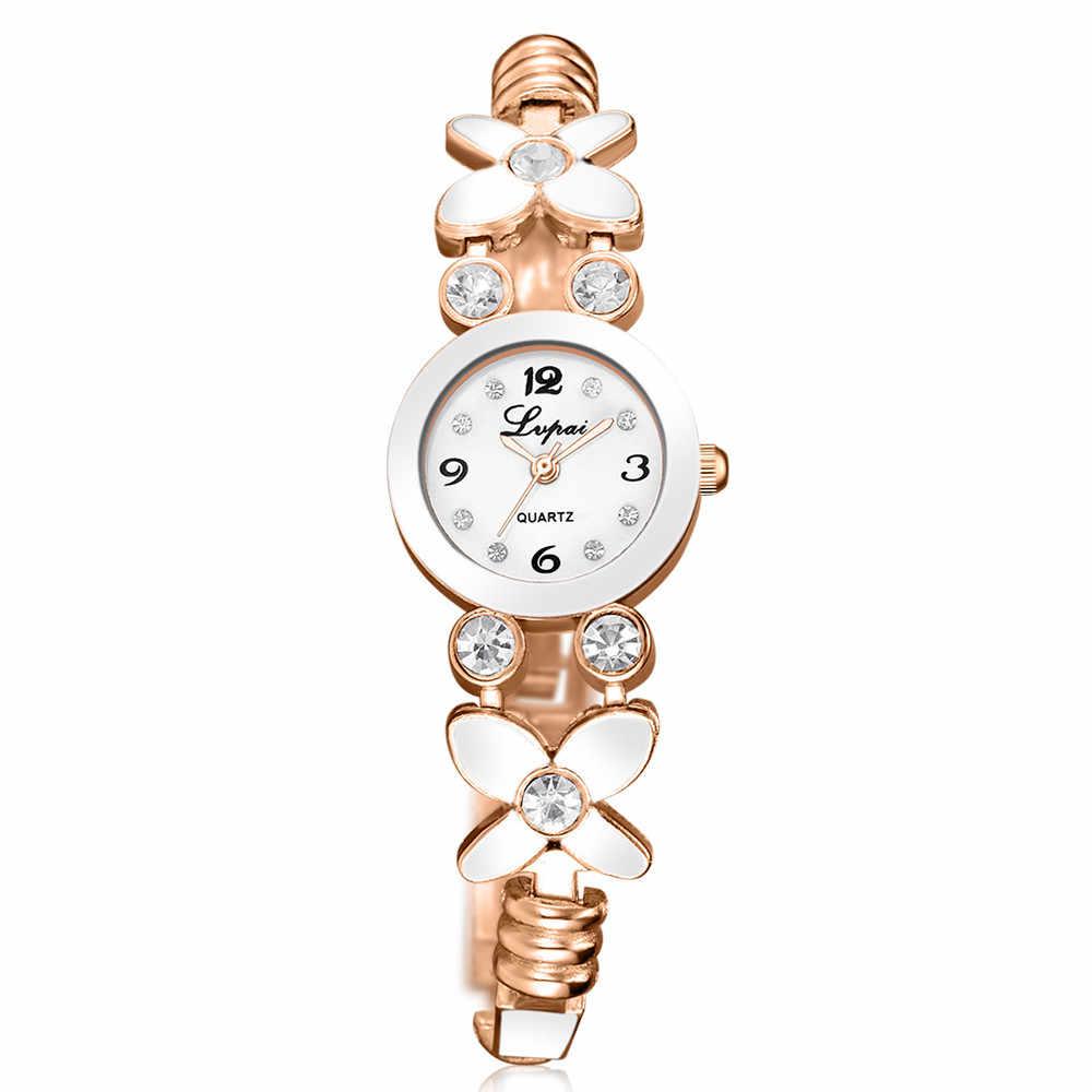 Reloj LVPAI de pulsera con diseño de flores de lujo para mujer, reloj de pulsera de cuarzo de acero inoxidable elegante para mujer, reloj # YY