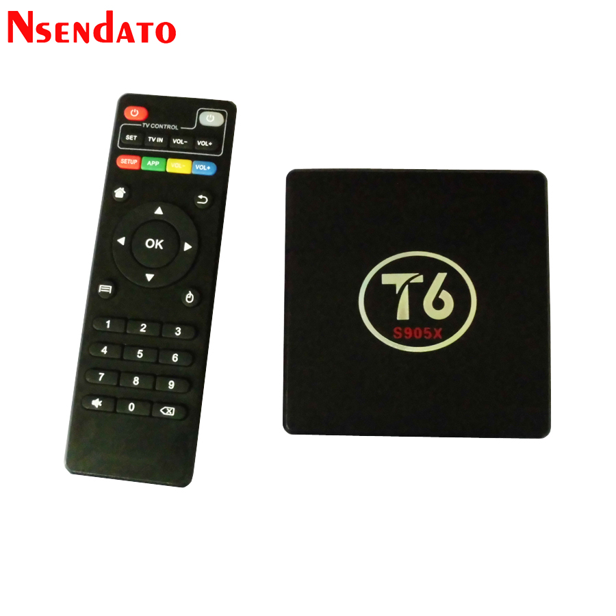 T6 S905X Amlogic TV Box Android 7.1 Smart TV Set Top Box 2GB 16GB Amlogic S905X Quad core Cortex A53 4K 2.4GHz WiFi Smart TV Box mesuvida 2gb 16gb nexbox a95x smart tv box android 6 0 amlogic s905x quad core 64bit 4k x 2k h 265 many movies set top box