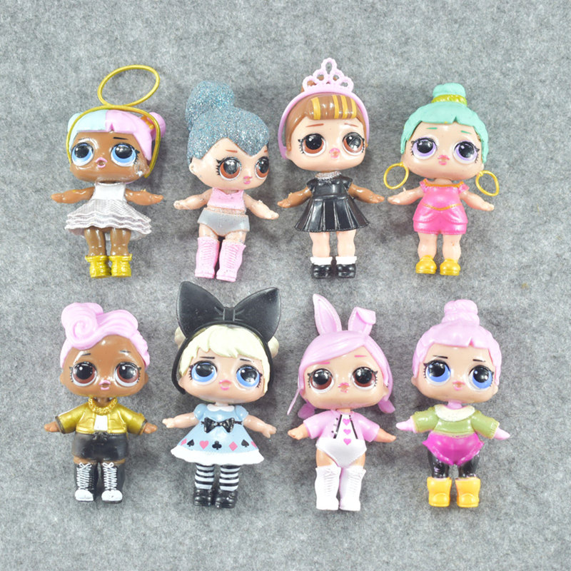 Latest Hot 8Pcs/Set 9-10CM Lovely LOL Doll Funny Pvc Baby Doll Anime Action Figure Kids Toys For Children Best Gifts