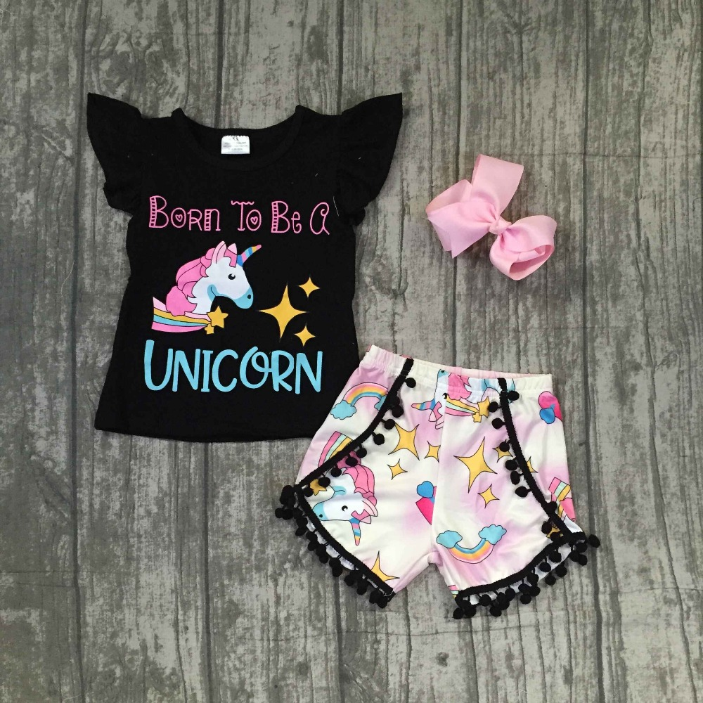 Exclusives design Born To Be a UNICORN pom-pom short set Summer hot sell super cute baby kids wear girls clothing with bow baby pom pom hem swan print romper with headband