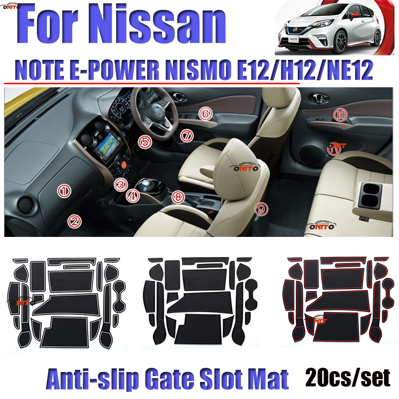 Good Quality 20pcs/set Rubber Gate Slot Mat For Nissan NOTE E-POWER NISMO E12/H12/N12 NON SLIP Door Groove Mat Covers