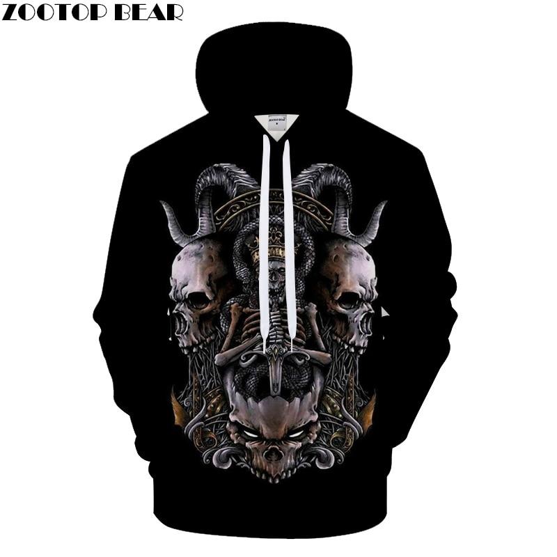 King of Skull Men Hoodies 3D Print Hoody Streatwear Sweatshirts Male Tracksuit Autumn Coat Pullover Hip Hop Drop ship ZOOTOPBEAR