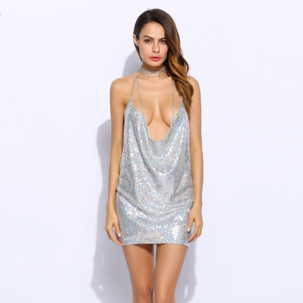 HTB1iSizPpXXXXXDapXXq6xXFXXX0 - Women Sexy Spaghetti Strap Sequined dress sparkly halter backless metal club party dresses 3 Colors PTC 336