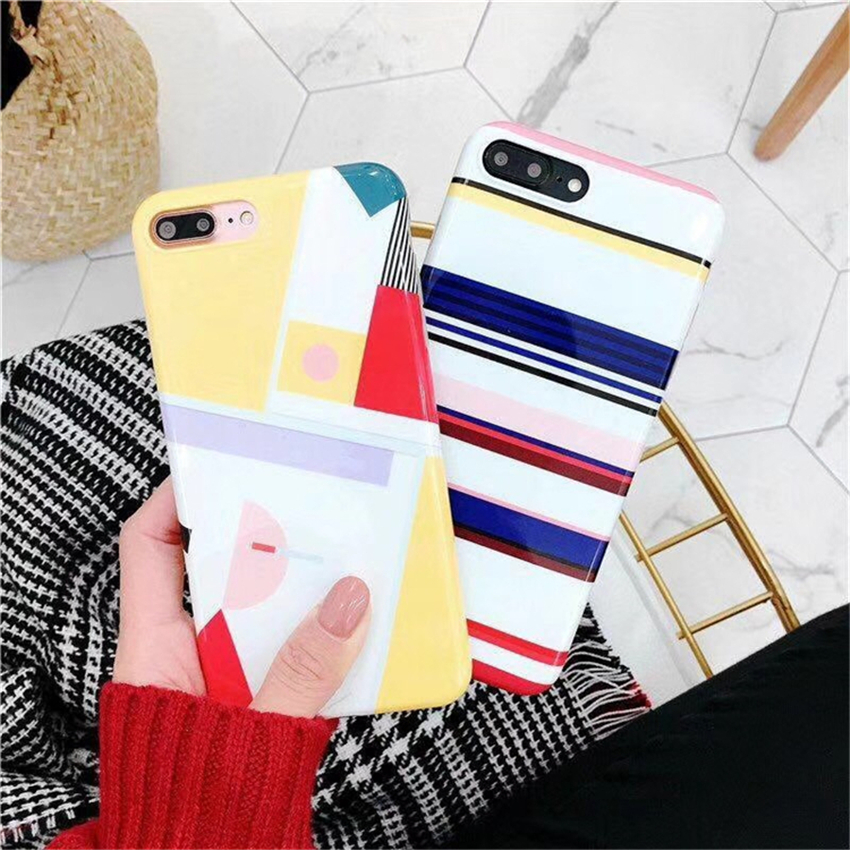 Stripe Hit color Phone Cases For iPhone 6 6S Plus Smooth Literature Soft TPU Back Cover For iPhone 7 8 Plus X Coque Funda