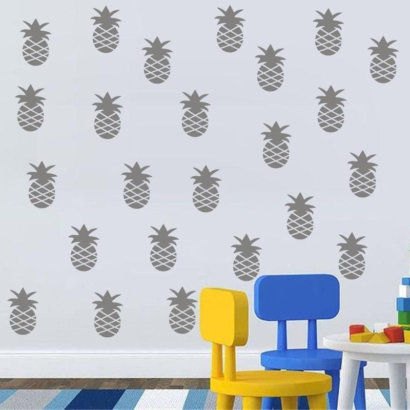 18 pièces 14*9.3 Ananas Fruits Vinyle Stickers Muraux Décor À La Maison Pour Salon Chambre D'enfants Décoration Amovible bricolage Art Peintures Murales