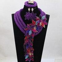 Рождество Роскошный цветок комплект украшений фиолетовый Бусины нигерийской свадьбы Африканский Ювелирные Наборы для невест Для женщин Б