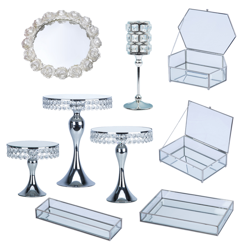 Zilveren Europese bruiloft dessert display ornamenten cake plank cake tray dessert inventaris hart plaat fruitschaal - 5