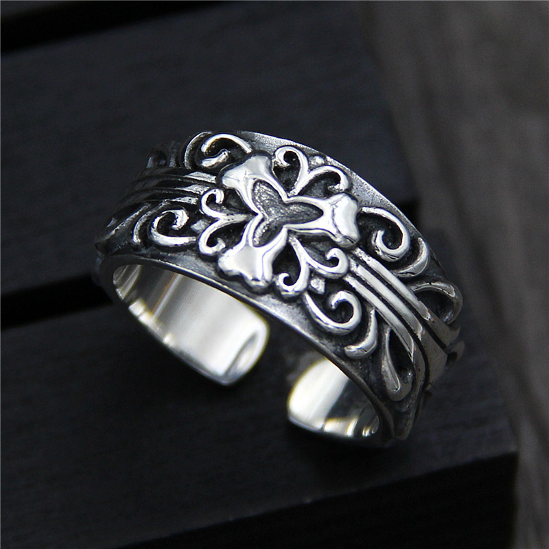C&R Pure 925 Sterling Silver Rings for men do old retro Carved Pattern punk style ring men Fine Jewelry Size 9-11 Adjustable