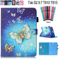 For Samsung Galaxy Tab S2 9.7 SM-T810 T815 Case 2016 New Fashion Flower Star Flip Wallet Card Slot Pu Leather Stand Smart Cover