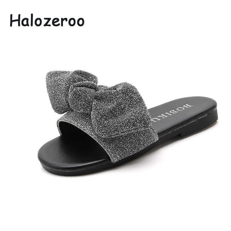 ฤดูร้อน 2019 เด็กใหม่โบว์สไลด์เด็กชายหาดเด็กทารก Glitter เจ้าหญิงรองเท้ารองเท้าแฟชั่นรองเท้าแตะเงินยี่ห้อรองเท้า