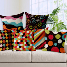 6 Styles Hot Colorful Geometry Nature Home Decor Cotton Linen Throw Decorative Pillows Pillowcase Cushion Covers for Car Sofa
