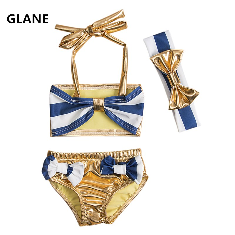 8y new neonato toddler bambini neonate striped bow bikini a righe set fascia swimsuit swimwear