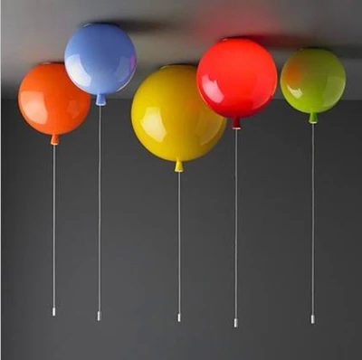 Modern kid's 6 colors balloon acrylic ceiling light fixture home deco children bedroom E27 bulb ceiling lamps with switch