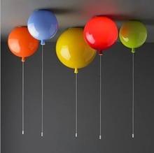 Modern niños 6 colores globo de acrílico lámpara de techo deco casero niños dormitorio E27 bombilla de techo lámparas con interruptor