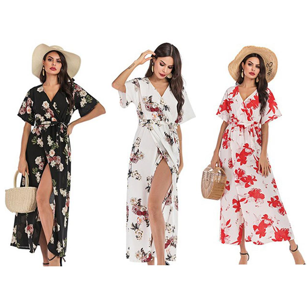 2019 New Yfashion Women Sexy Front Slit V Collar Floral Printing Short Sleeve Lacing Beach Dress in Dresses from Women 39 s Clothing